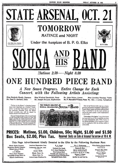 A Sousa newspaper ad from 1922 listing a young Meredith Willson.
